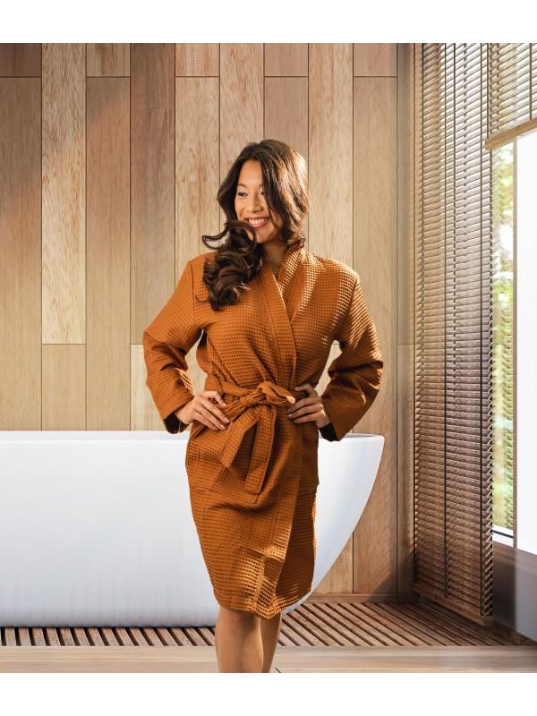 Kayori Geisha - Bademantel - Waffelpique - Braun