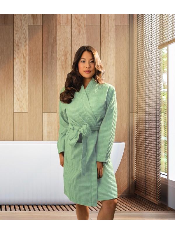 Kayori Geisha - Bademantel - Waffelpique - Minzgrün