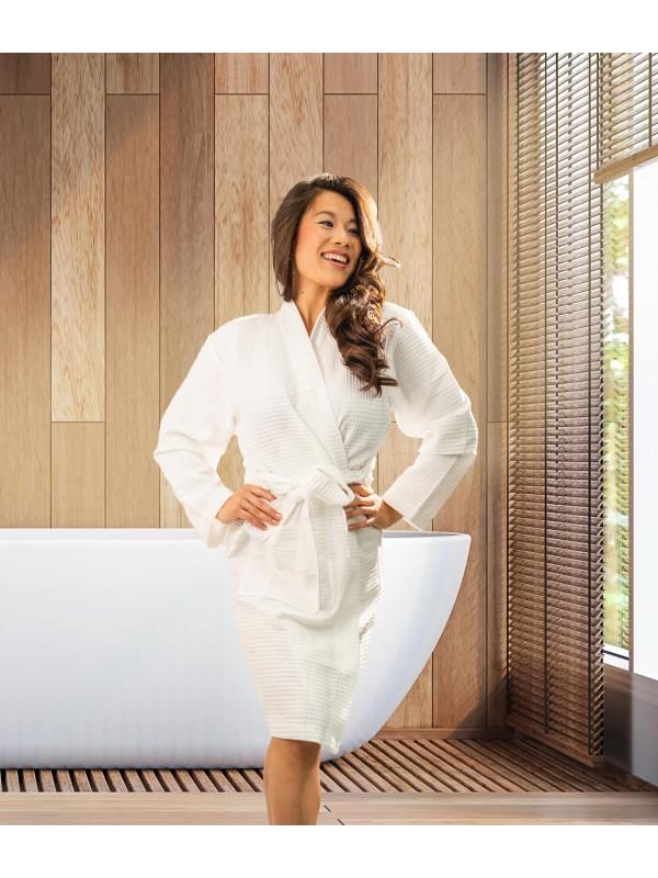 Kayori Geisha - Bademantel - Waffelpique - Weiss